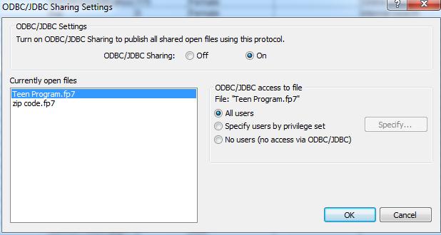 FileMaker ODBC/JDBC Configuration screen.